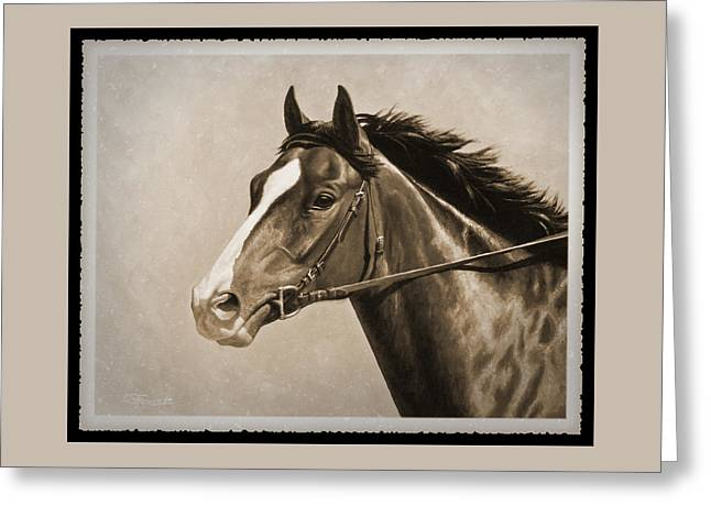 Race Horse Greeting Cards - Race Horse Old Photo FX Greeting Card by Crista Forest