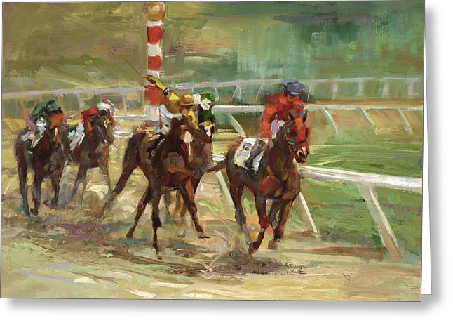 Horses Running Greeting Cards - Race Horses Greeting Card by Laurie Hein
