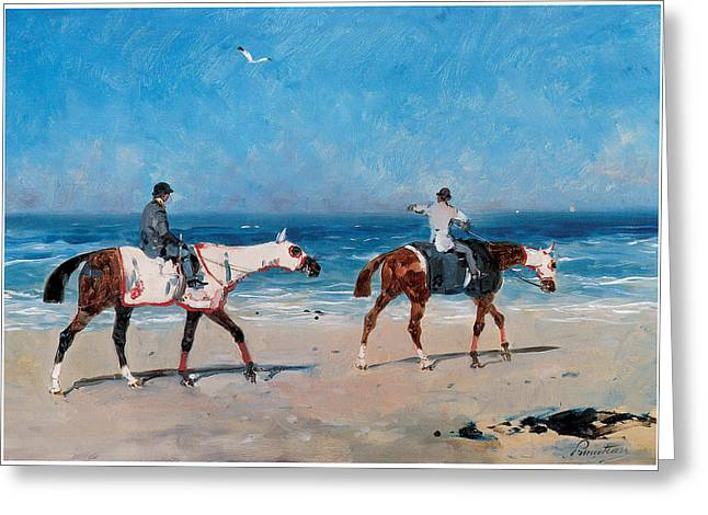 Race Horse Greeting Cards - Race Horses on the Beach Greeting Card by Rene Princeteau