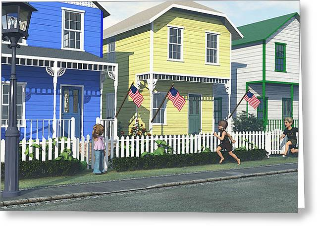 White Frame House Digital Greeting Cards - Race into Summer Greeting Card by Jayne Wilson