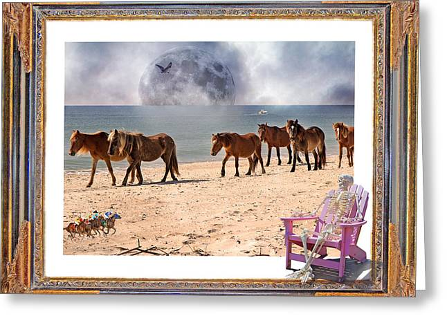 Moon Beach Digital Art Greeting Cards - Race of a Lifetime Greeting Card by Betsy A  Cutler