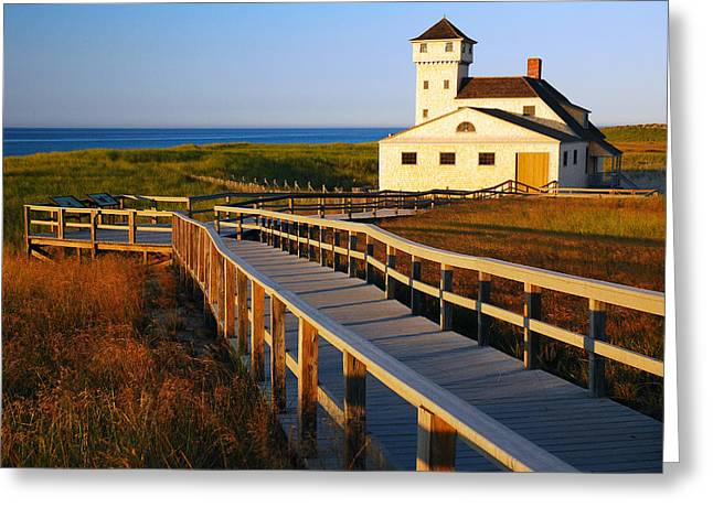Ocean Images Greeting Cards - Race Point Coast Guard Station Greeting Card by James Kirkikis