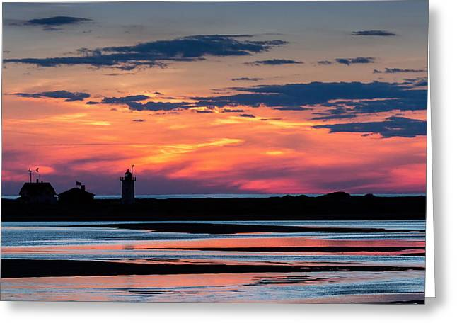 New England Lighthouse Greeting Cards - Race Point Light Sunset Greeting Card by Bill  Wakeley