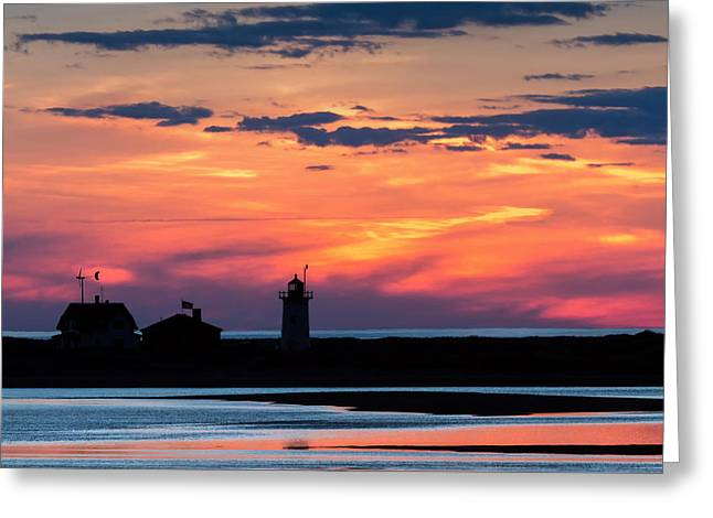 New England Lighthouse Greeting Cards - Race Point Light Sunset Square Greeting Card by Bill  Wakeley