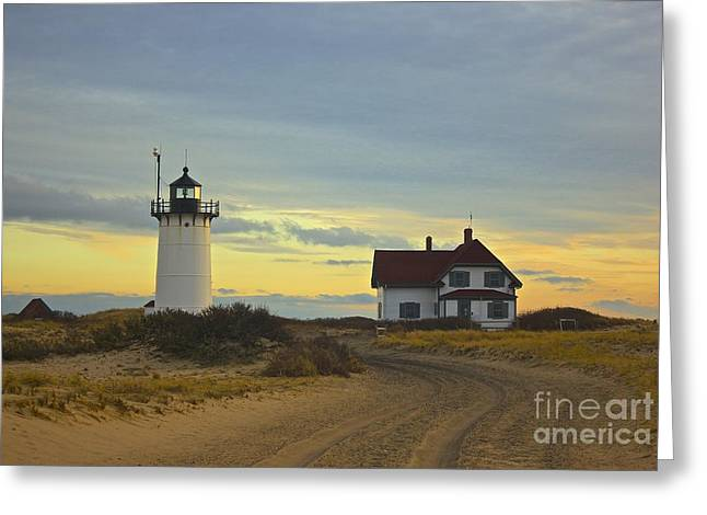 Amazing Jules Greeting Cards - Race Point Lighthouse at Sunset Greeting Card by Amazing Jules