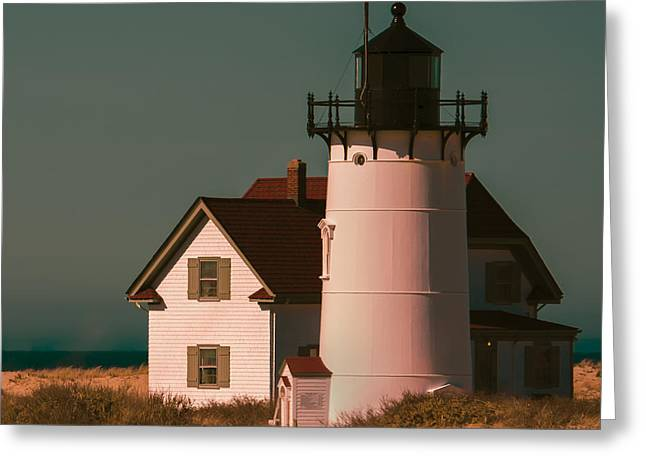 Race Point Greeting Cards - Race Point Lighthouse Square Art Print Greeting Card by Dapixara