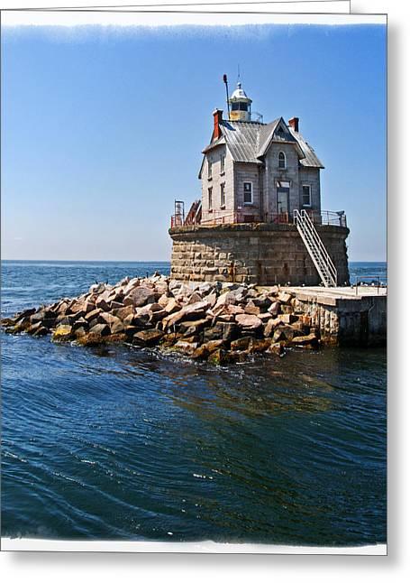 Long Island Greeting Cards - Race Rock Lighthouse Greeting Card by Alida Thorpe