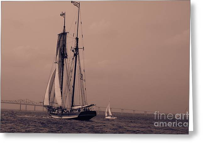 Tall Ship Greeting Cards - Race the Wind Greeting Card by Dale Powell