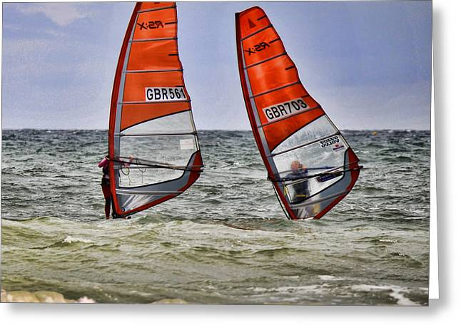 Sailboarding Greeting Cards - Race to the Beach Greeting Card by David  Hollingworth