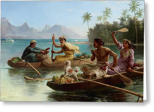 Race To The Market Tahiti Greeting Card by Nicholas Chevalier