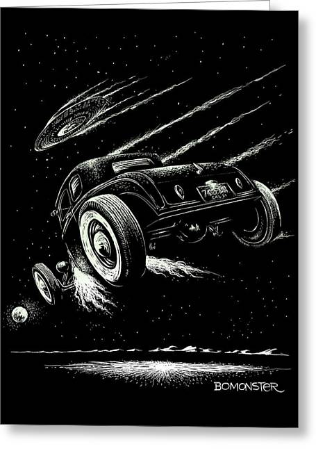 Hot Rodder Greeting Cards - Race To The Moon III Greeting Card by Bomonster