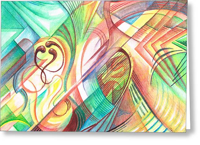 Geometry In Orange Greeting Cards - Race to the Ovum Greeting Card by C Y