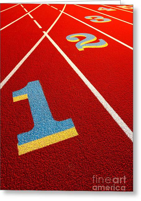 Number One Greeting Cards - Race Track  Greeting Card by Olivier Le Queinec