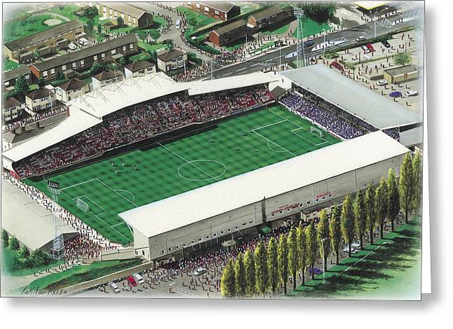Wrexham Greeting Cards - Racecourse Ground - Wrexham Greeting Card by Kevin Fletcher