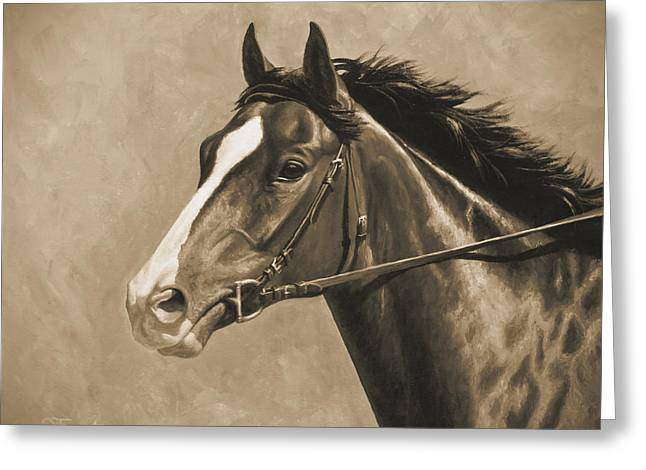 Race Horse Greeting Cards - Racehorse Painting In Sepia Greeting Card by Crista Forest