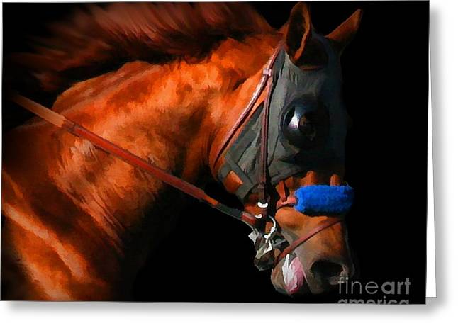 Quarter Horse Greeting Cards - Racehorse Greeting Card by Stephanie Laird