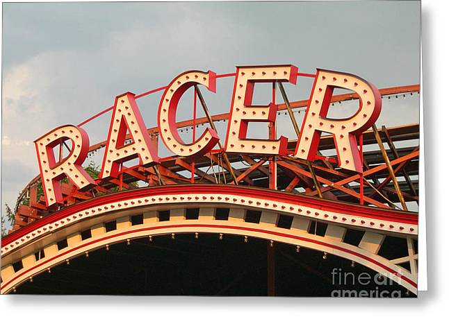 Neon Greeting Cards - Racer Coaster Kennywood Park Greeting Card by Jim Zahniser