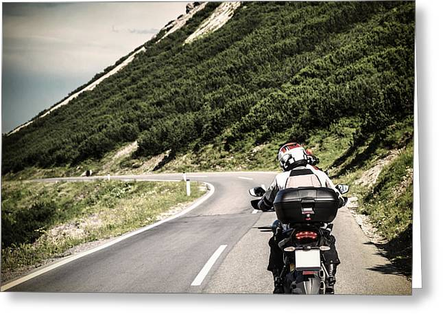 Scenic Drive Greeting Cards - Racer on mountainous highway Greeting Card by Anna Omelchenko