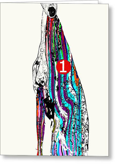 Greyhound Dog Paintings Greeting Cards - Racer Trap 1 Greeting Card by Bri Buckley