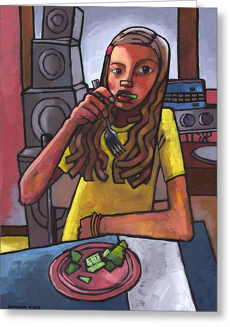 Rachel Eating Salad By Tom's Speakers Greeting Card by Douglas Simonson