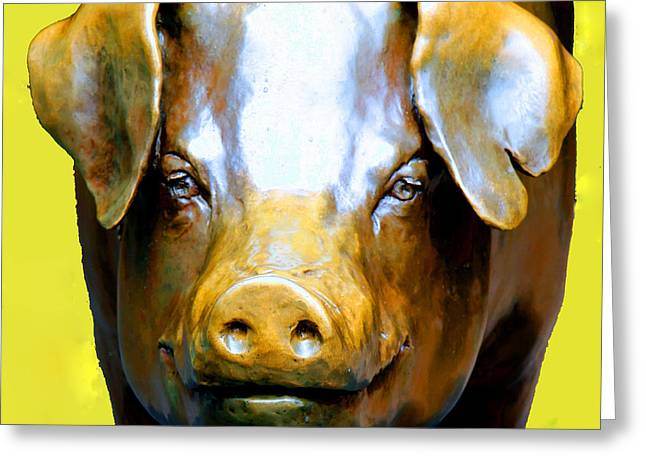 The Pig Market Greeting Cards - Rachel - Pike Market Piggy Bank Seattle Washington  Greeting Card by Tap  On Photo