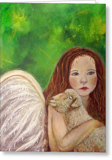 Charlotte Paintings Greeting Cards - Rachelle Little Lamb The Return To Innocence Greeting Card by The Art With A Heart By Charlotte Phillips