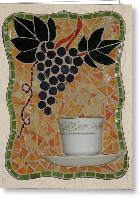Cup Glass Greeting Cards - Racimo de Uvas Greeting Card by Rosa Cardenas