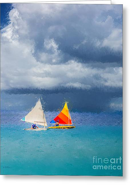 Sailboat Art Greeting Cards - Racing a Caribbean Storm Greeting Card by Betty LaRue