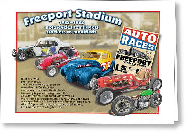 Demo Derby Greeting Cards - Racing at Freeport Greeting Card by Dan Knowler