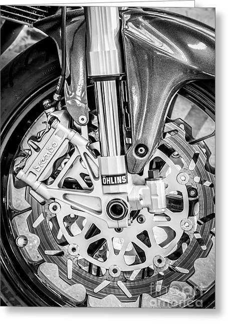 Two Bikes Greeting Cards - Racing Bike Wheel with Brembo Brakes and Ohlins Shock Absorbers - Black and White Greeting Card by Ian Monk