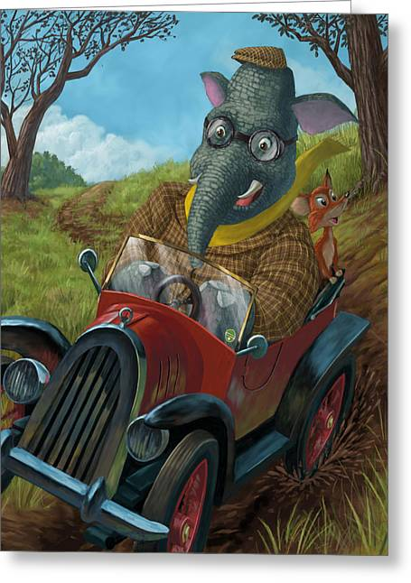 Kids Sports Art Greeting Cards - Racing Car Animals Greeting Card by Martin Davey