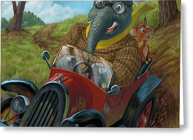 racing car animals Greeting Card by Martin Davey