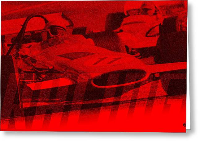 Decorative Greeting Cards - Racing Cars Greeting Card by Gary Grayson