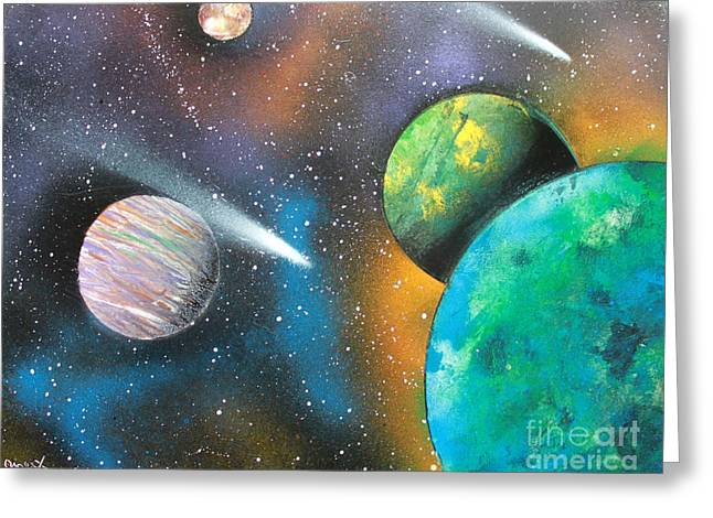 Outer Space Paintings Greeting Cards - Racing Comets Greeting Card by Greg Moores