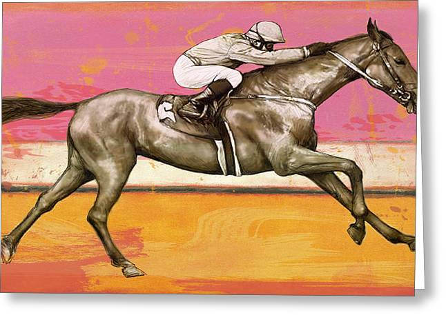 Racing Horse Stylised Pop Art Drawing Potrait Poser Greeting Card by Kim Wang