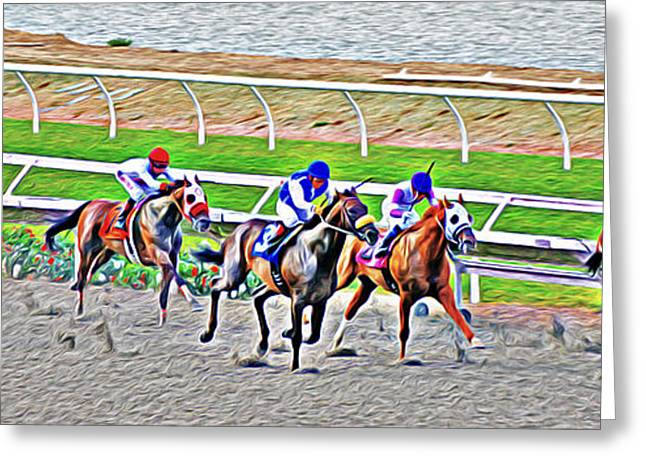 Jockeys Greeting Cards - Racing Horses Greeting Card by Christine Till