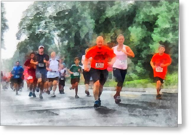 Jogging Greeting Cards - Racing in the Rain Greeting Card by Susan Savad