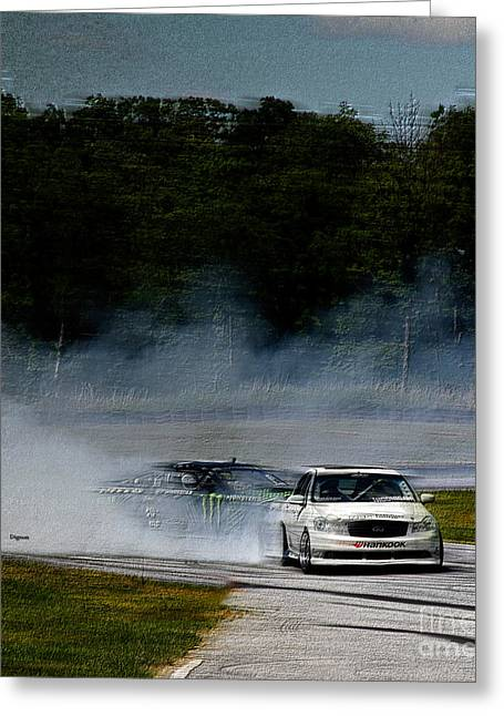 Action Sports Digital Greeting Cards - Racing it Down Greeting Card by Steven  Digman
