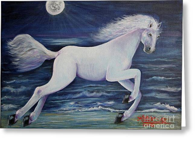 Man In The Moon Paintings Greeting Cards - Racing the Man in Moon Greeting Card by Ruth Ann Murdock