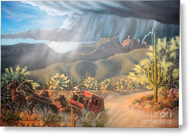 Pk Greeting Cards - Racing the Storm Greeting Card by Jerry Bokowski