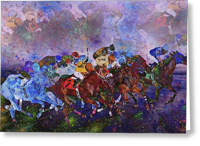 Saddle Digital Art Greeting Cards - Racing with Ghosts Greeting Card by Betsy A  Cutler