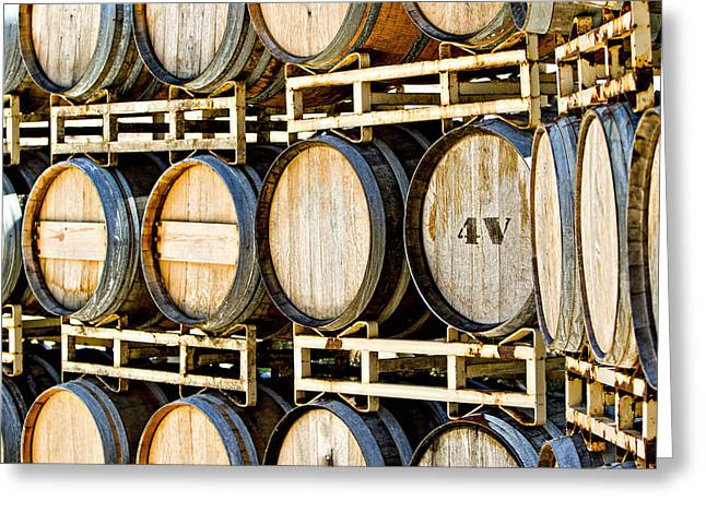 Winemaking Photographs Greeting Cards - Rack of Old Oak Wine Barrels Greeting Card by Susan  Schmitz