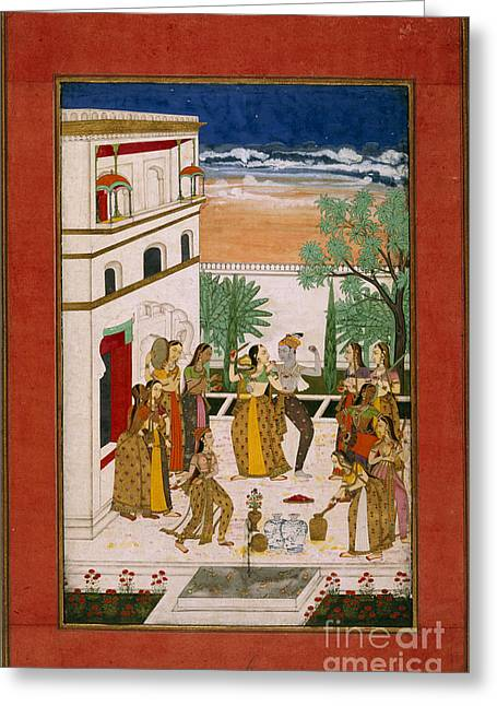 Structural Features Greeting Cards - Radha & Krishna Dancing Greeting Card by British Library
