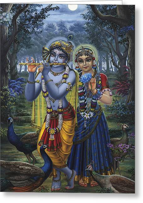 Hinduism Greeting Cards - Radha and Krishna on full moon Greeting Card by Vrindavan Das