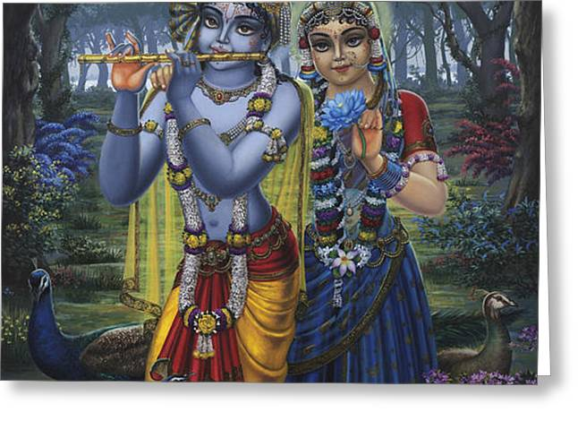 Radha and Krishna on full moon Greeting Card by Vrindavan Das