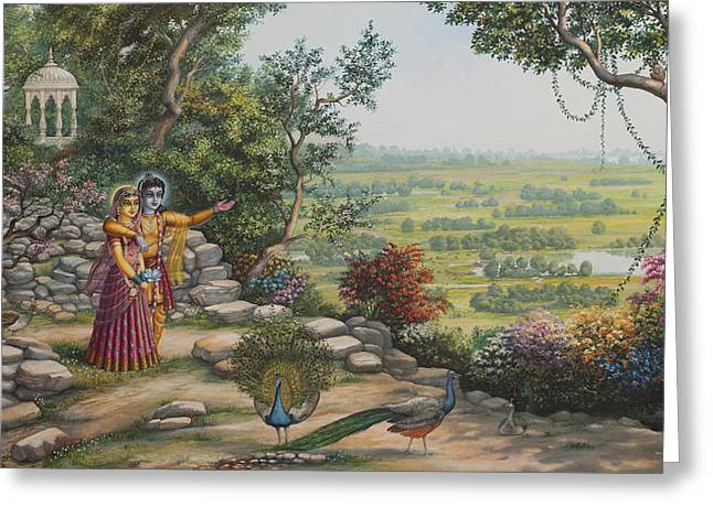 Hinduism Greeting Cards - Radha and Krishna on Govardhan Greeting Card by Vrindavan Das