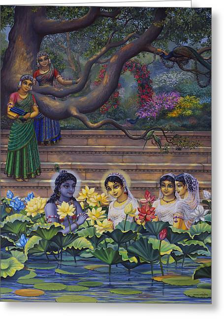 Radha And Krishna Water Pastime Greeting Card by Vrindavan Das