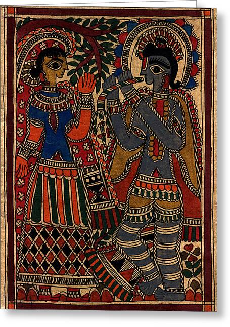 Shade Tapestries - Textiles Greeting Cards - Radha kissan Greeting Card by Pallavi