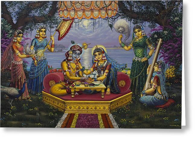 Gopi Greeting Cards - Radha Krishna Bhojan Lila Greeting Card by Vrindavan Das