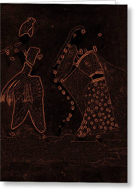 Gopala Greeting Cards - Radha Krishna Dancing Greeting Card by Pratyasha Nithin
